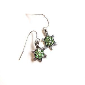 Silver Turtle Dangle Earrings